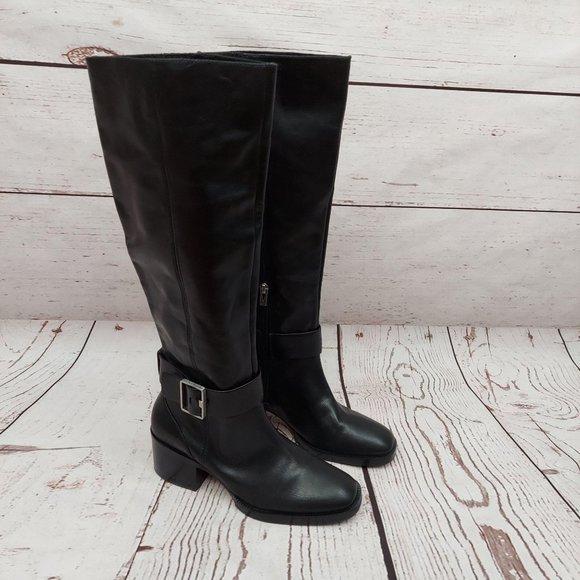 SALE NWOB Via Spiga Garnett Tall Leather Boots Blk